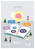 코딩, 코딩교육, 교육 (주제), 어린이 (인간의나이), 해시태그, 4차산업혁명 (산업혁명), 뇌 (인체내부기관), 전구, 태엽, 책