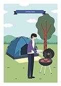 여행, 휴가, 스마트폰, 모바일어플리케이션 (인터넷), 캠핑, 텐트, 나무, 잔디밭 (경작지), 바비큐 (식사)