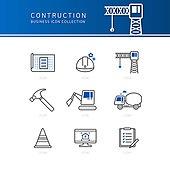 아이콘세트 (아이콘), 비즈니스, 라인아이콘, 건설현장 (인조공간), 건설업 (산업), 안전모, 설계도 (계획), 크레인