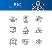 아이콘세트 (아이콘), 비즈니스, 라인아이콘, 연구 (주제), 연구소 (업무현장), 과학자 (전문직), 실험실장비 (장비), 플라스크, 현미경, 돋보기