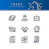 아이콘세트 (아이콘), 비즈니스, 라인아이콘, 상업활동 (움직이는활동), 협력, 악수 (제스처), 체스말, 비행기