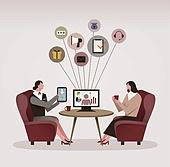 비즈니스, 조언 (컨셉), 고객서비스상담원 (전화업무), 보험 (사고보험), 보험설계사 (금융직), 비즈니스우먼, 스마트폰, 그래프