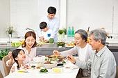 한국인, 가족, 식사, 식탁, 대가족 (가족), 대화, 밝은표정