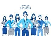 비즈니스, 파랑 (색상), 화이트칼라 (전문직), 비즈니스우먼, 일렬 (배열), 여성, 신분증 (서류), 협력, 팀워크 (협력)