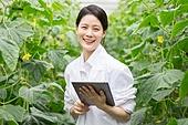 한국인, 여성, 연구 (주제), 농업, 백색가운, 생물학자, 디지털태블릿 (개인용컴퓨터), 미소