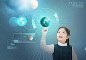 초등학생, 교육 (주제), 인터넷 (기술), 가상현실시뮬레이터 (컴퓨터장비), 증강현실, 첨단기술, 4차산업혁명 (산업혁명), 교과목, 초현대적 (컨셉)