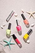 여름, 계절, 오브젝트 (묘사), 모래 (자연현상), 화장품 (몸단장제품), 뷰티, 매니큐어 (뷰티), 립스틱