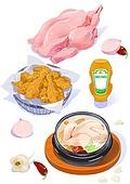 음식재료, 음식, 요리 (음식상태), 육류 (음식), 닭, 후라이드치킨 (닭고기), 삼계탕