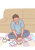 육아, 아기 (인간의나이), 남편, 육아대디 (아빠), 가족, 라이프스타일, 기저귀갈기 (움직이는활동), 기저귀, 아빠