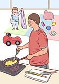 육아, 아기 (인간의나이), 남편, 육아대디 (아빠), 가족, 라이프스타일, 요리하기 (음식준비), 도마, 장난감, 아빠