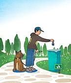애완동물 (길든동물), 펫티켓 (예절), 펫티켓, 애완견 (개), 휴지통 (쓰레기용기), 나무, 걷기 (물리적활동)