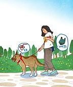 애완동물 (길든동물), 애완견 (개), 걷기 (물리적활동), 산책길, 공원, 개줄 (애완동물장비), 펫티켓 (예절)