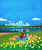 풍경 (컨셉), 한강 (강), 한강공원 (서울), 휴식 (정지활동), 라이프스타일, 사람, 돗자리, 잔디밭 (경작지), 초원 (자연의토지상태)