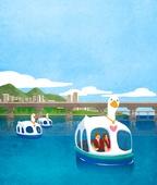 풍경 (컨셉), 한강 (강), 한강공원 (서울), 휴식 (정지활동), 라이프스타일, 사람, 오리배 (휴양보트)