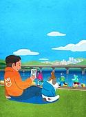 풍경 (컨셉), 한강 (강), 한강공원 (서울), 휴식 (정지활동), 라이프스타일, 사람, 애완견 (개), 잔디밭 (경작지), 휴식