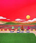 풍경 (컨셉), 한강 (강), 한강공원 (서울), 휴식 (정지활동), 라이프스타일, 사람, 일몰 (땅거미), 휴식, 조깅 (운동)