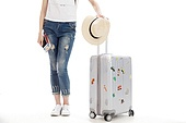Young women and luggage