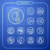 아이콘, 여름, 픽토그램, 라인아이콘, 여행, 해변, 비키니, 상업이벤트 (사건), 파랑 (색상)