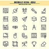 벡터파일 (일러스트), 아이콘, 아이콘세트 (아이콘), 모바일아이콘, 웹아이콘, 픽토그램, 라인아이콘, 단순 (컨셉), 교육 (주제), 학교건물 (교육시설), 학원, 교과목, 필기구 (사무용품)