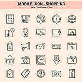 벡터파일 (일러스트), 아이콘, 아이콘세트 (아이콘), 모바일아이콘, 웹아이콘, 픽토그램, 라인아이콘, 단순 (컨셉), 쇼핑, 세일 (사건), 상업이벤트 (사건), 구매, 배달 (일), 결재, 모바일결제 (금융아이템)