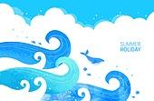 벡터파일 (일러스트), 여름, 파랑 (색상), 수채물감 (페인트), 바다, 어류 (척추동물), 바다속