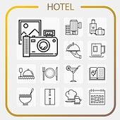아이콘, 아이콘세트 (아이콘), 라인아이콘, 호텔, 호텔 (공공건물), 펜션 (공공건물), 여행, 휴식, 여행사, 아침식사 (식사), 요리 (음식상태), 레스토랑