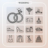 아이콘, 아이콘세트 (아이콘), 라인아이콘, 결혼 (사건), 신혼부부, 웨딩드레스옷자락, 반지, 기념일, 축하이벤트 (사건), 사랑 (컨셉)