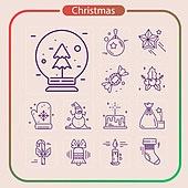 아이콘, 아이콘세트 (아이콘), 라인아이콘, 크리스마스 (국경일), 기념일, 상업이벤트 (사건), 눈사람, 산타클로스, 루돌프, 크리스마스트리, 선물상자, 눈 (얼어있는물)