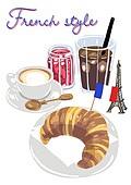 음식, 디저트, 아이스커피 (차가운음료), 라떼, 크루아상 (패스트리크러스트), 빵