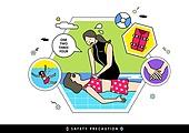 여름, 물장난 (장난치기), 수영 (움직이는활동), 바다, 안전, 안전교육, 구급대원 (응급서비스직업), 심폐소생술