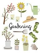 원예 (레크리에이션), 홈가드닝, 원예장비 (장비), 취미, 식물, 화분, 해바라기, 물뿌리개, 장화 (부츠)
