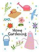 원예 (레크리에이션), 홈가드닝, 원예장비 (장비), 취미, 식물, 밀짚모자, 물뿌리개, 앞치마, 양동이 (용기)