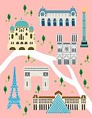 지도, 여행, 랜드마크, 건물외관 (건설물), 길, 지도 (운항장비), 건축 (주제), 프랑스 (중부유럽), 파리 (프랑스), 에펠탑 (파리), 루브르박물관 (파리)