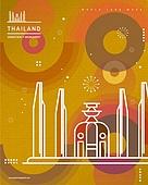 랜드마크, 기하학모양 (도형), 패턴, 도형, 컬러풀, 태국 (인도차이나), 민주기념탑