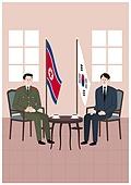 평화, 남북통일, 화해, 북한 (한국), 비즈니스미팅 (미팅), 태극기, 북한기 (국기), 정상회담 (미팅)