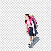 파워포인트 (이미지), PNG, 누끼, 한국인, 어린이 (인간의나이), 초등학생, 소녀, 스트레스, 공부 (움직이는활동), 학원, 가방, 피로 (물체묘사), 고통