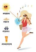 라이프스타일, 여름, 뜨거움 (컨셉), 수영복, 밀짚모자, 자외선