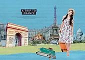 여행, 배낭여행자 (여행하기), 해외 (지리적인장소), 휴가, 휴식 (정지활동), 콜라주 (이미지테크닉), 랜드마크, 프랑스 (중부유럽), 유럽 (지리적인장소)