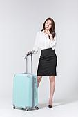 한국인, 여성, 비즈니스우먼, 바퀴달린여행가방 (짐), 휴가, 여행, 걱정, 호기심 (컨셉)