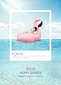 여름, 바다, 해변, 휴가, 수영복, 백그라운드, SNS, 비키니, 물놀이튜브 (부풀림), 홍학