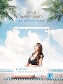여름, 바다, 해변, 휴가, 수영복, 백그라운드, SNS, 비키니, 야자나무 (열대나무)