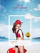 여름, 바다, 해변, 휴가, 수영복, 백그라운드, 안전요원, 안전