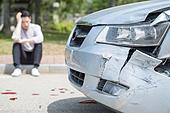 남성, 도로, 자동차, 사고, 교통사고, 파괴 (컨셉)