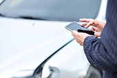 도로, 자동차, 사고, 교통사고, 자동차보험, 파괴 (컨셉), 걱정 (어두운표정), 충돌사고, 시비, 스마트폰, 사람손
