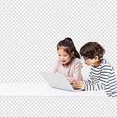 파워포인트 (이미지), PNG, 누끼, 어린이 (인간의나이), 초등학생, 소년, 소녀, 두명, 노트북, 공부