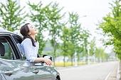 한국인, 여성, 자동차, 미소, 도로, 휴식