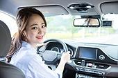 한국인, 여성, 자동차, 운전, 미소