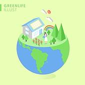 아이소메트릭 (구도), 환경보호 (환경), 캠페인, 재활용 (환경보호), 태양열에너지 (대체에너지), 지구 (행성)