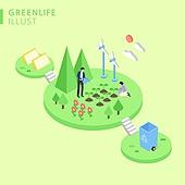 아이소메트릭 (구도), 환경보호 (환경), 캠페인, 재활용 (환경보호), 환경, 태양열에너지 (대체에너지), 풍력, 대체에너지