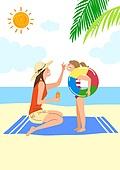 자외선, 피부, 스킨케어 (뷰티), 라이프스타일, 여름, 해변, 태양, 선크림 (화장품), 어린이 (인간의나이), 물놀이튜브 (부풀림)